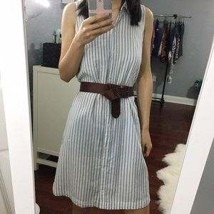 ABERCROMBIE FITCH White Blue Stripe Shirt Dress